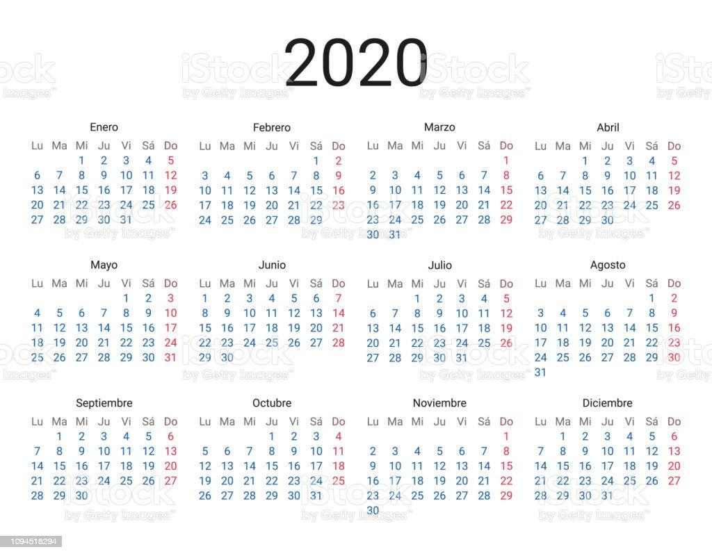 Calendario Del Ano 2020 En Espanol.Ilustracion De Ano 2020 Del Calendario Espanol En Idioma