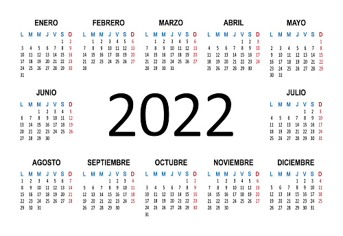 2022 year Spanish calendar. Week starts from Lunes Monday. Vector