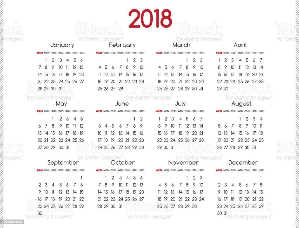 annual calendar 2018