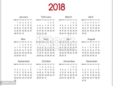 2018 Year Vector Calendar Modern Simple Design With Round San