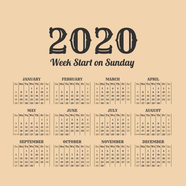 2020 年ビンテージ カレンダーです。週の始まりが日曜日 ベクターアートイラスト