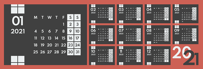 2021 year wall horizontal calendar, starts monday, two weekends, dark background