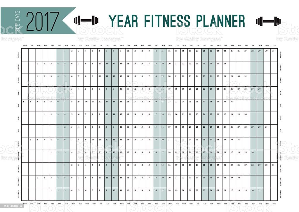 Year Wall Planner Template Plan Out Your Whole Fitness With Stock ...