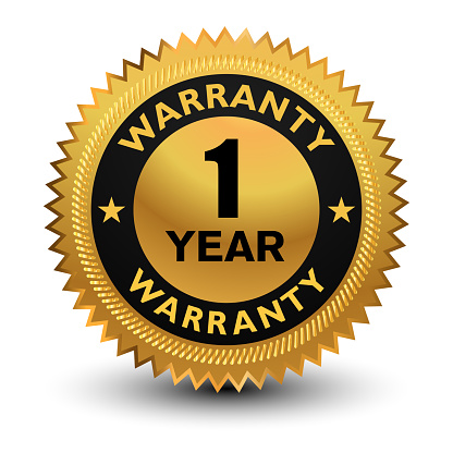 1 Year Warranty Badge Banner Sticker Tag Icon Stamp Label Stock Illustration - Download Image Now - iStock