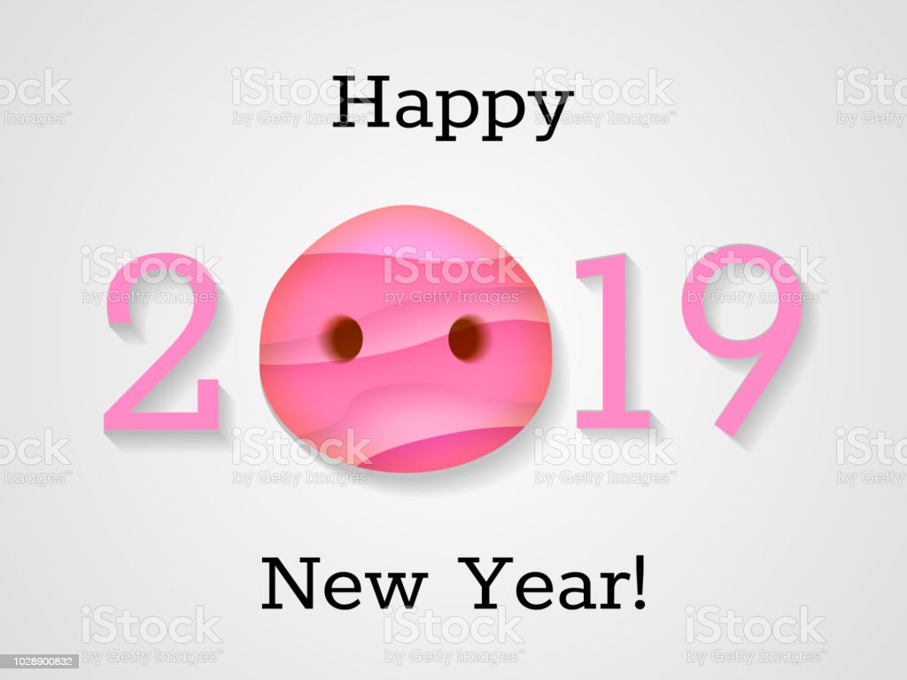 2019 year with pigs nose pink paper cut effect happy new year text