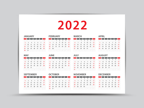 2022 yearly calendar - 12 months yearly calendar set in 2022, Planner, vector illustration