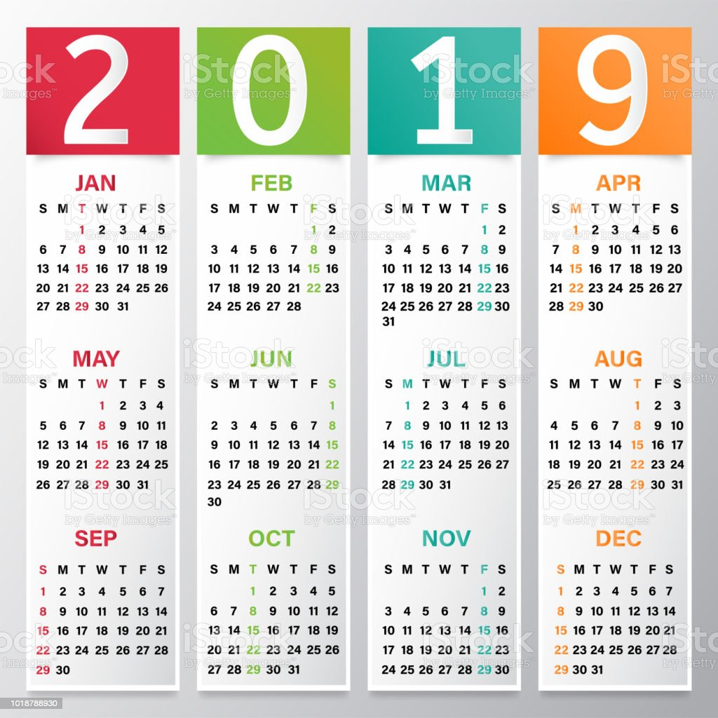 yearly calendar or organiser design for 2019 royalty free yearly calendar or organiser design