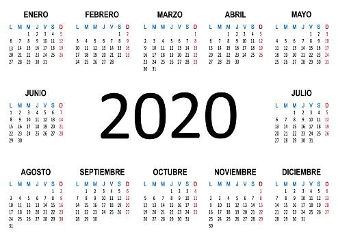 Yearly calendar Spanish 2020. Week starts Monday. Vector
