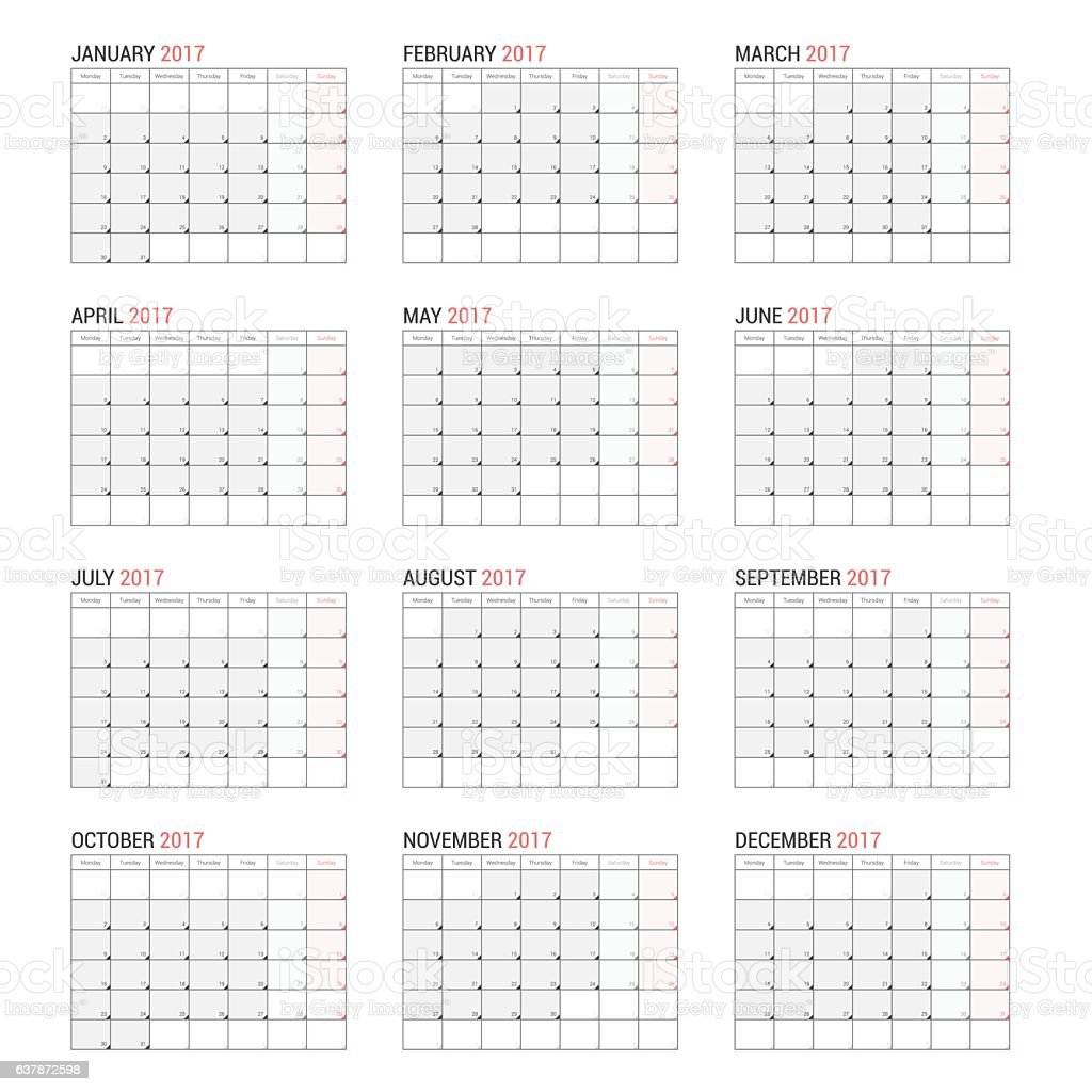 yearly wall calendar planner template for 2017 stock vector art