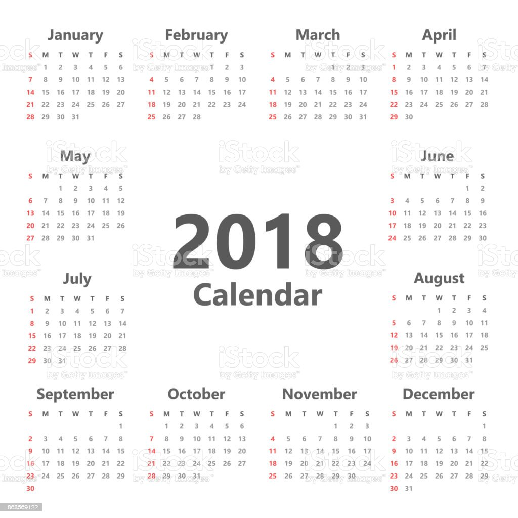 Plantilla De Planificador De Calendario De Pared Anual Para 2018 ...