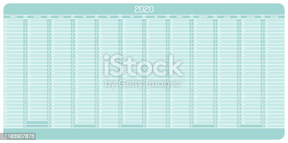 Yearly Wall Calendar Planner Template for Year 2020. Vector Illustration.