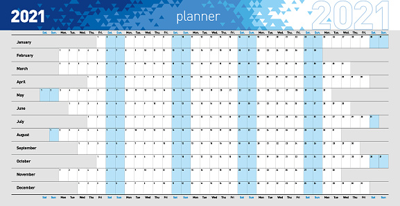 Yearly wall planner for the 2021 year in blue colors. Vector illustration .eps10