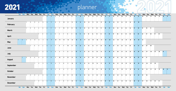 Yearly wall planner for the 2021 year in blue colors. Vector illustration .eps10 2021 Wall Calendar, yearly wall or desk planner in blue colors. calendars templates stock illustrations
