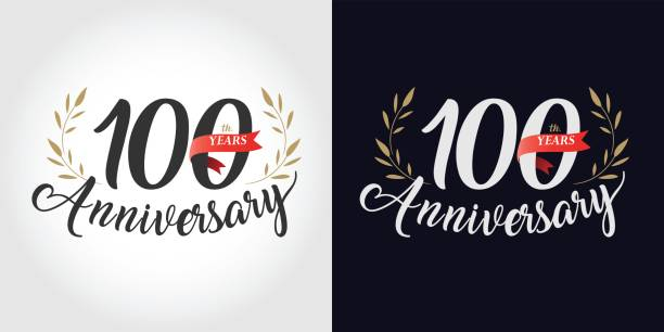 100 years, 100th anniversary, number, hand writing, and red ribbon. vintage style 100 years, 100th anniversary, number, hand writing, and red ribbon. vintage style 100th anniversary stock illustrations