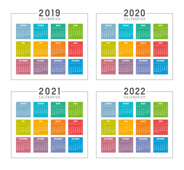 Years 2019 2020 2021 2022 colorful French calendars Set of minimalist colorful calendars in French language, years 2019 2020 2021 2022, weeks start Monday, on white background - Vector templates. french language stock illustrations