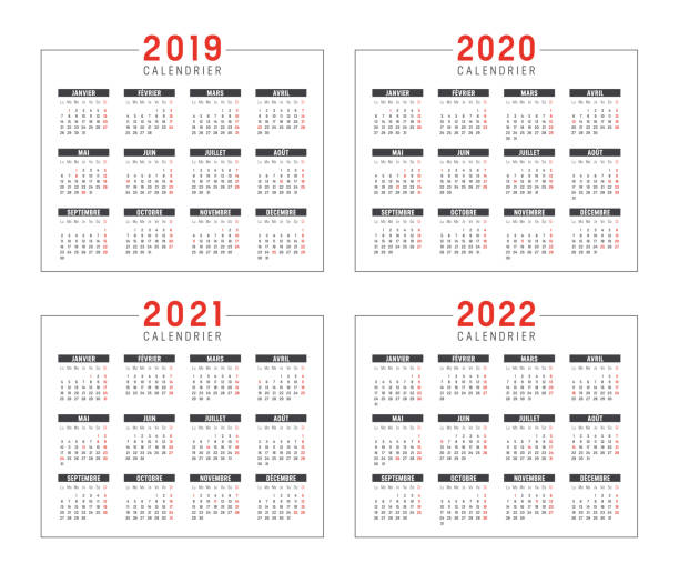 Years 2019 2020 2021 2022 French calendars Set of minimalist calendars, years 2019 2020 2021 2022, in French langage, on white background - Vector templates. french language stock illustrations