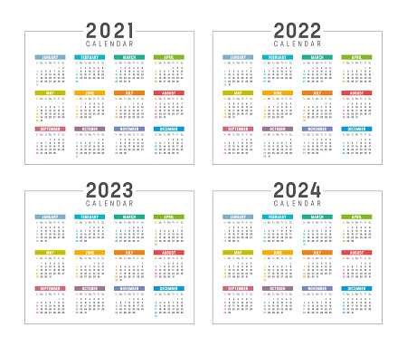 Years 2021 2022 2023 2024 colorful calendars