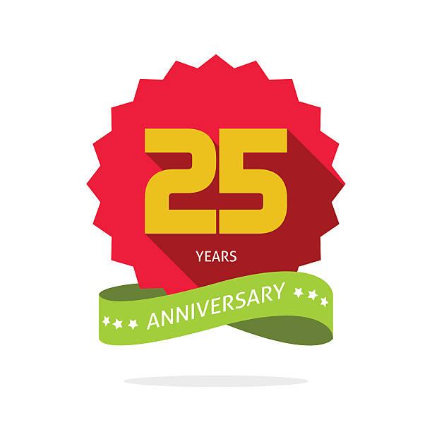 ilustrações, clipart, desenhos animados e ícones de aniversário de 25 anos de marca vetorial distintivo - 25 30 anos