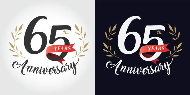 65 years, 65th anniversary, number, hand writing, and red ribbon. vintage style vector art illustration