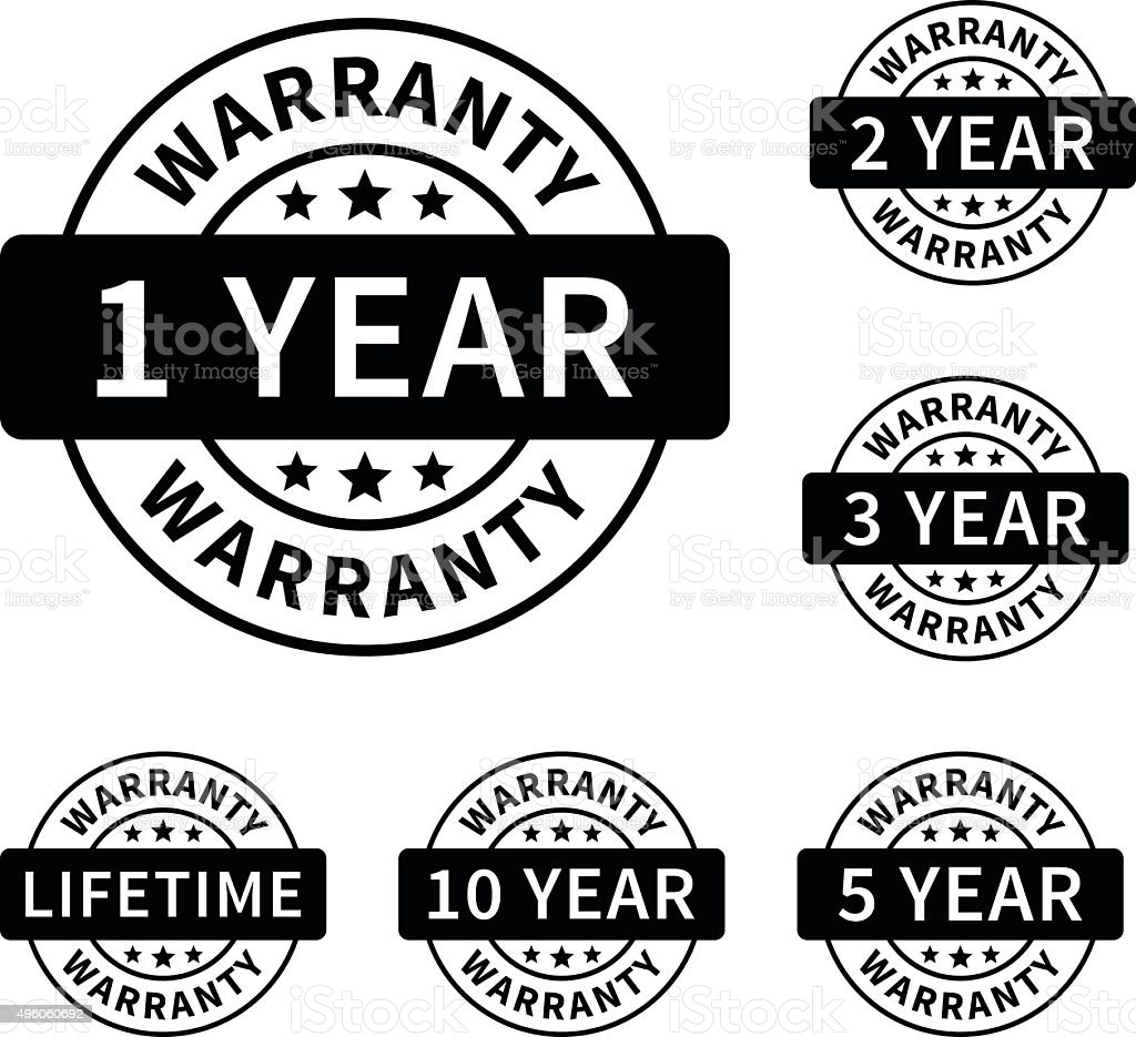 1, 2, 3, 5, 10 years and lifetime warranty labels vector art illustration