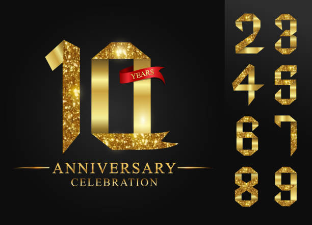 10 - 90 years anniversary, 0 - 9 Numbers.Celebration anniversary celebration logotype. logo with golden ribbons on black background, vector design for invitation card,number gold ribbon foil. vector art illustration
