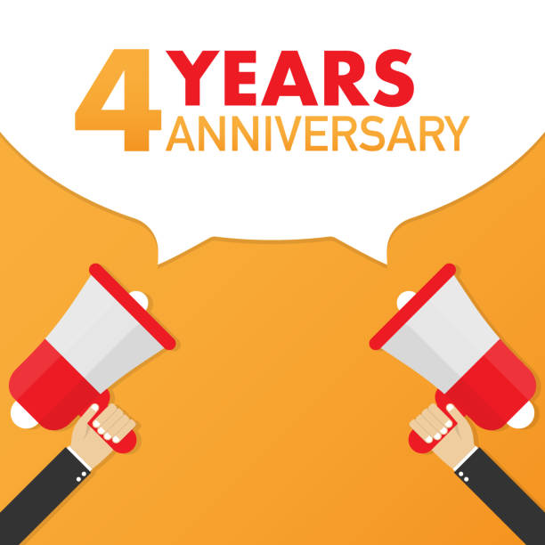 4 years anniversary - advertising sign with megaphone. Vector illustration. vector art illustration