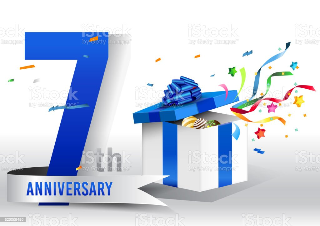 7 years anniversary background with ribbon, confetti and gift on white. Poster or brochure template. Vector illustration. vector art illustration