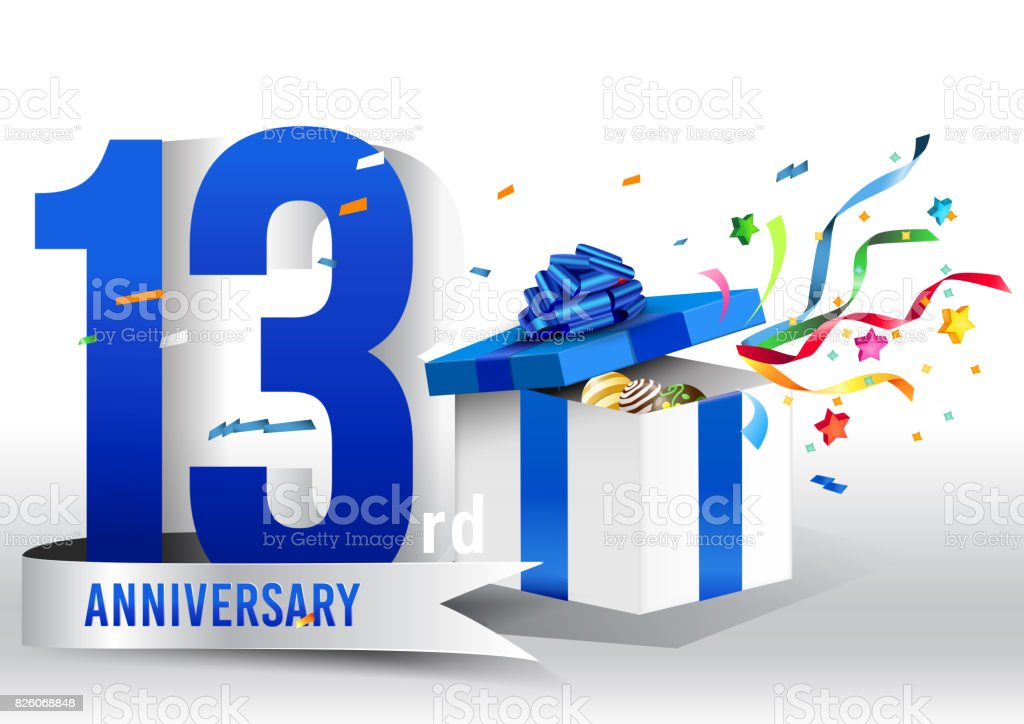 13 Years Anniversary Background With Ribbon Confetti And Gift On