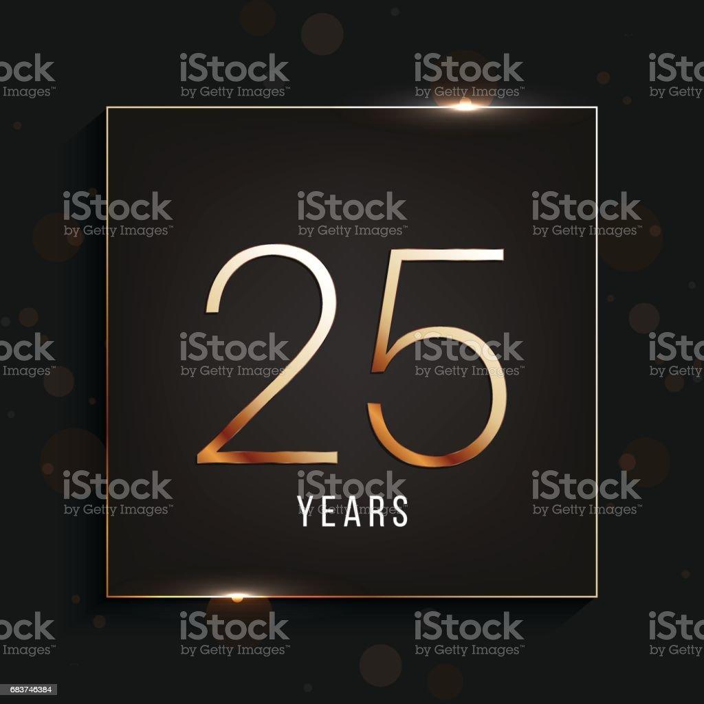 25 years anniversary banner. 25th anniversary gold logo on dark background.