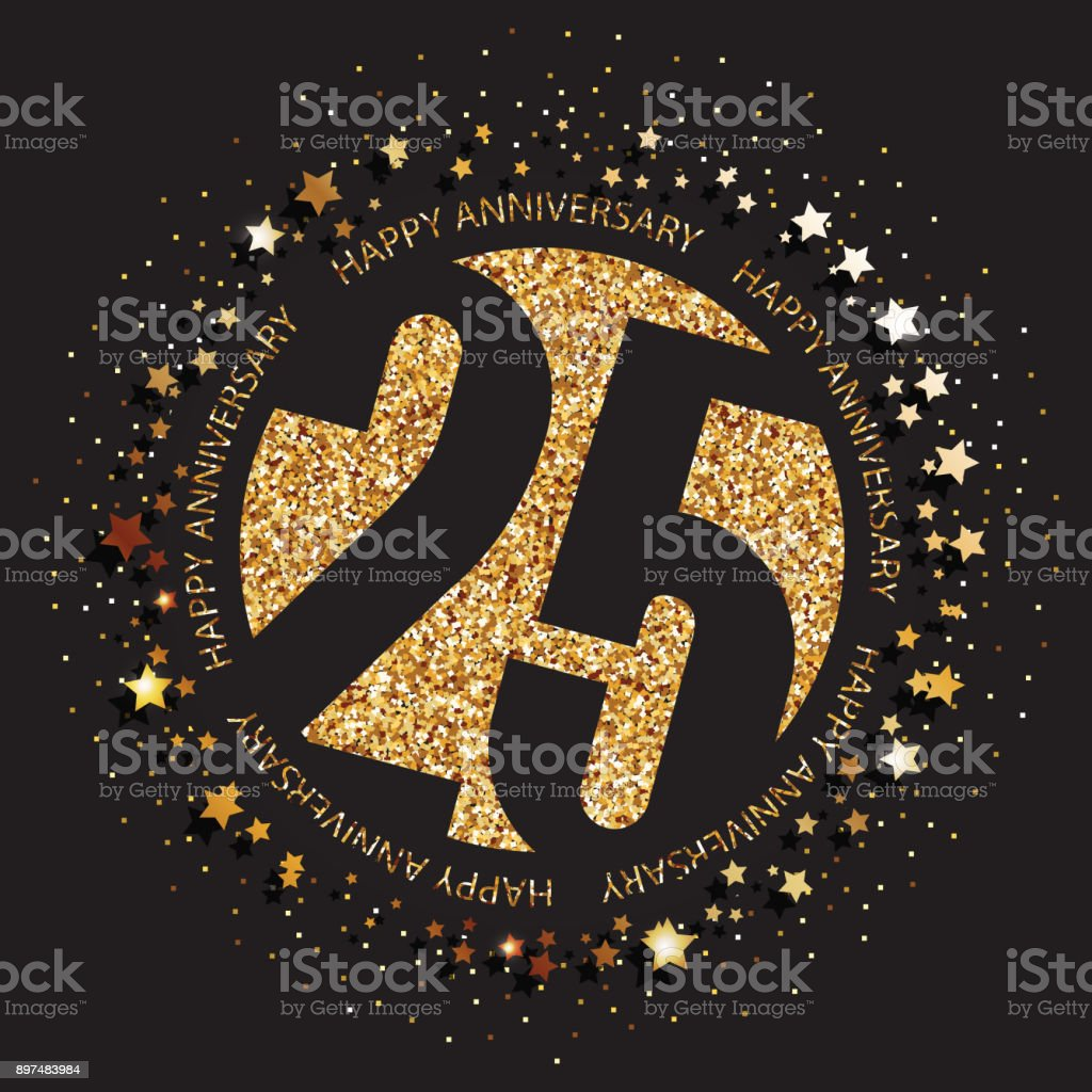 25 years anniversary banner. 25th anniversary gold  on dark background.