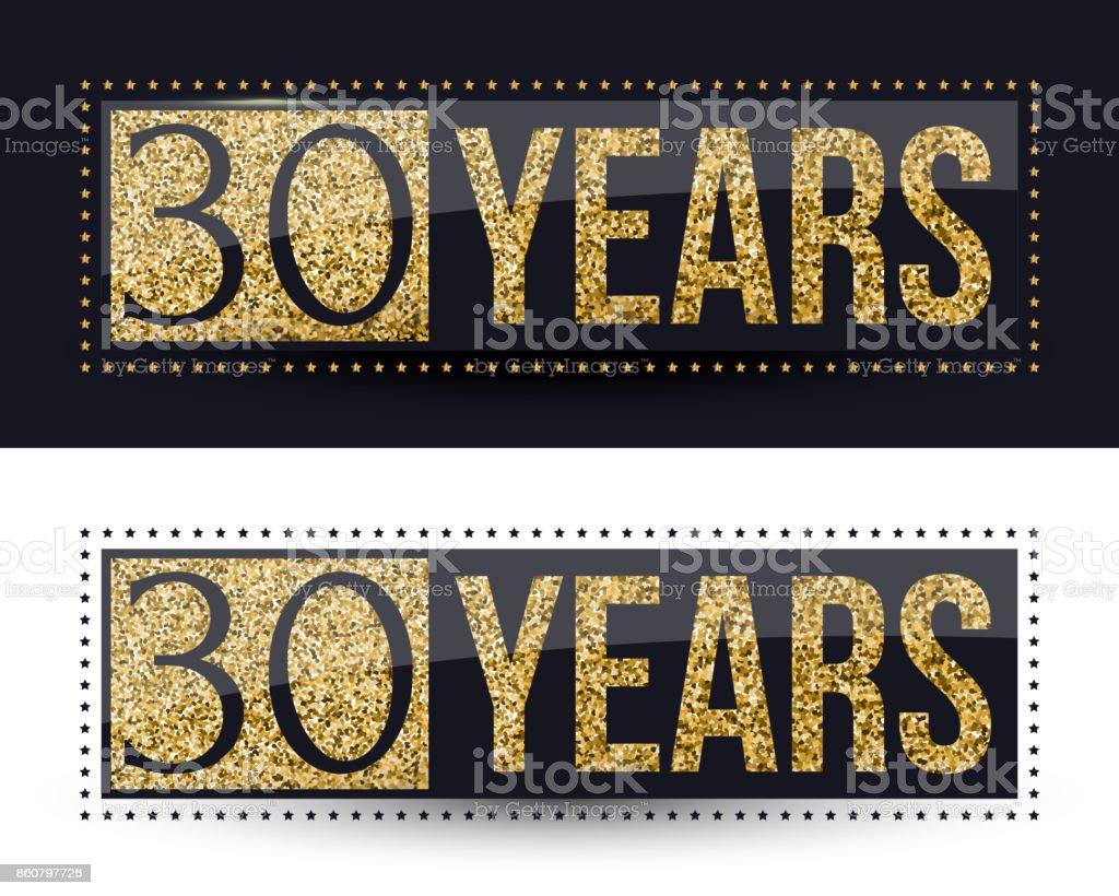 30 Jaar Verjaardag Banner 30e Verjaardag Gouden Pictogram Op Een