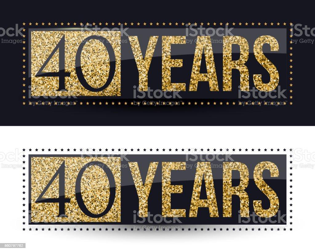 Verwonderlijk 40 Jaar Verjaardag Banner 40e Verjaardag Gouden Pictogram Op Een XN-59