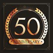 50 years anniversary banner. 50th anniversary gold emblem on dark background.