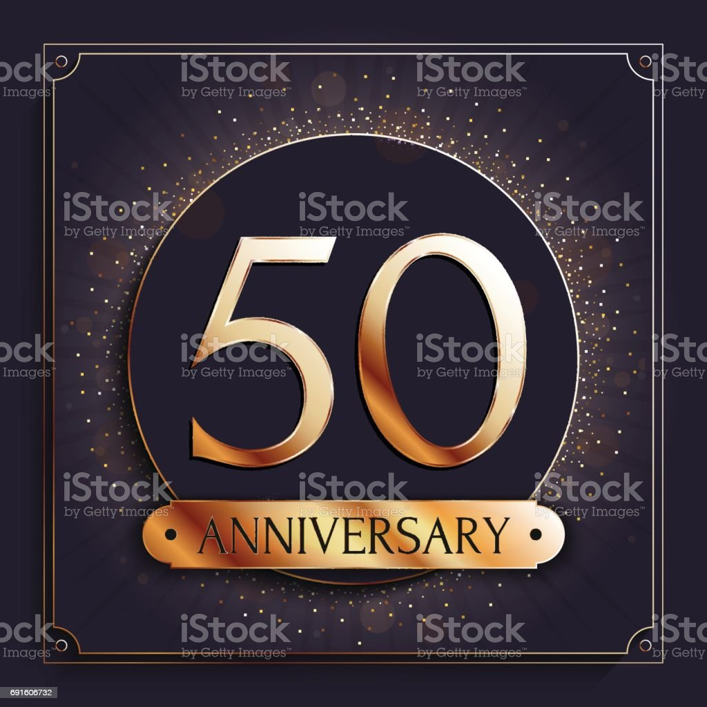 50 years anniversary banner. 50th anniversary gold icon on dark background. vector art illustration
