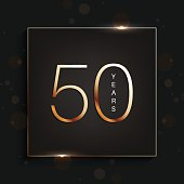 50 years anniversary banner. 50th anniversary gold logo on dark background.