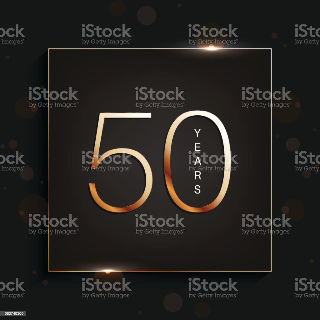 50 years anniversary banner. 50th anniversary gold logo on dark background. vector art illustration