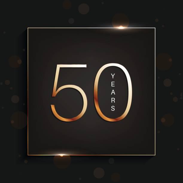 bildbanksillustrationer, clip art samt tecknat material och ikoner med 50 år jubileum banner. 50-årsdagen gold logo på mörk bakgrund. - talet 50