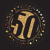 50 years anniversary banner. 50th anniversary gold  on dark background.