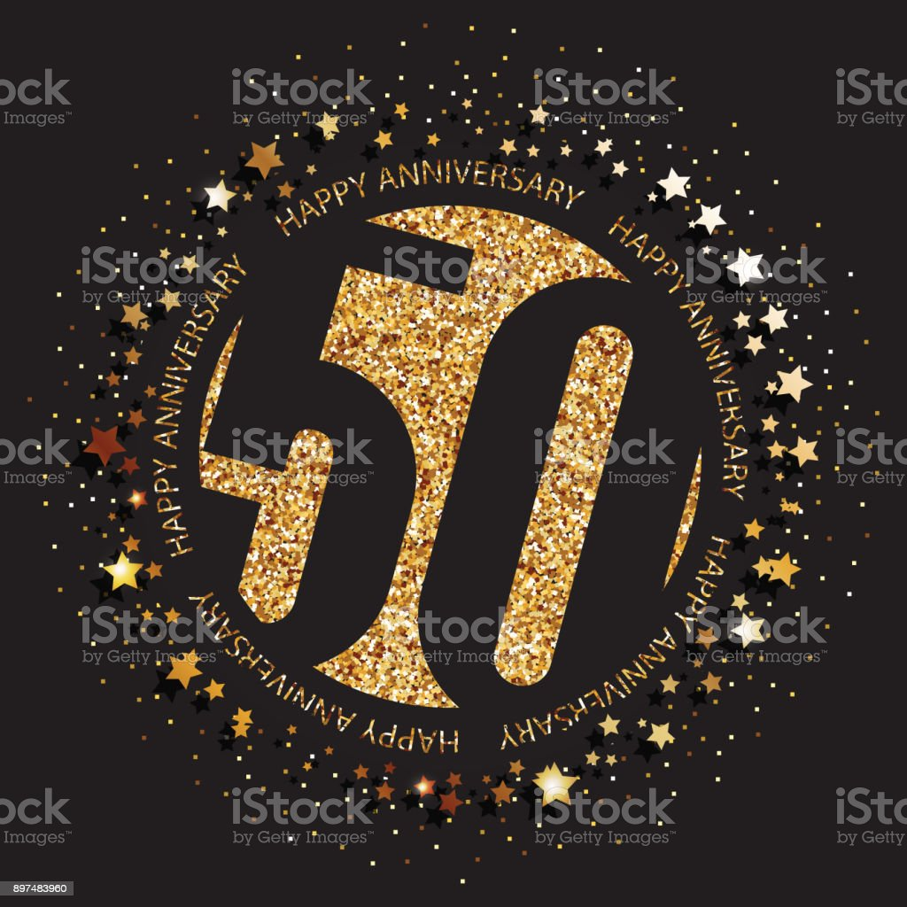 50 years anniversary banner. 50th anniversary gold  on dark background. vector art illustration