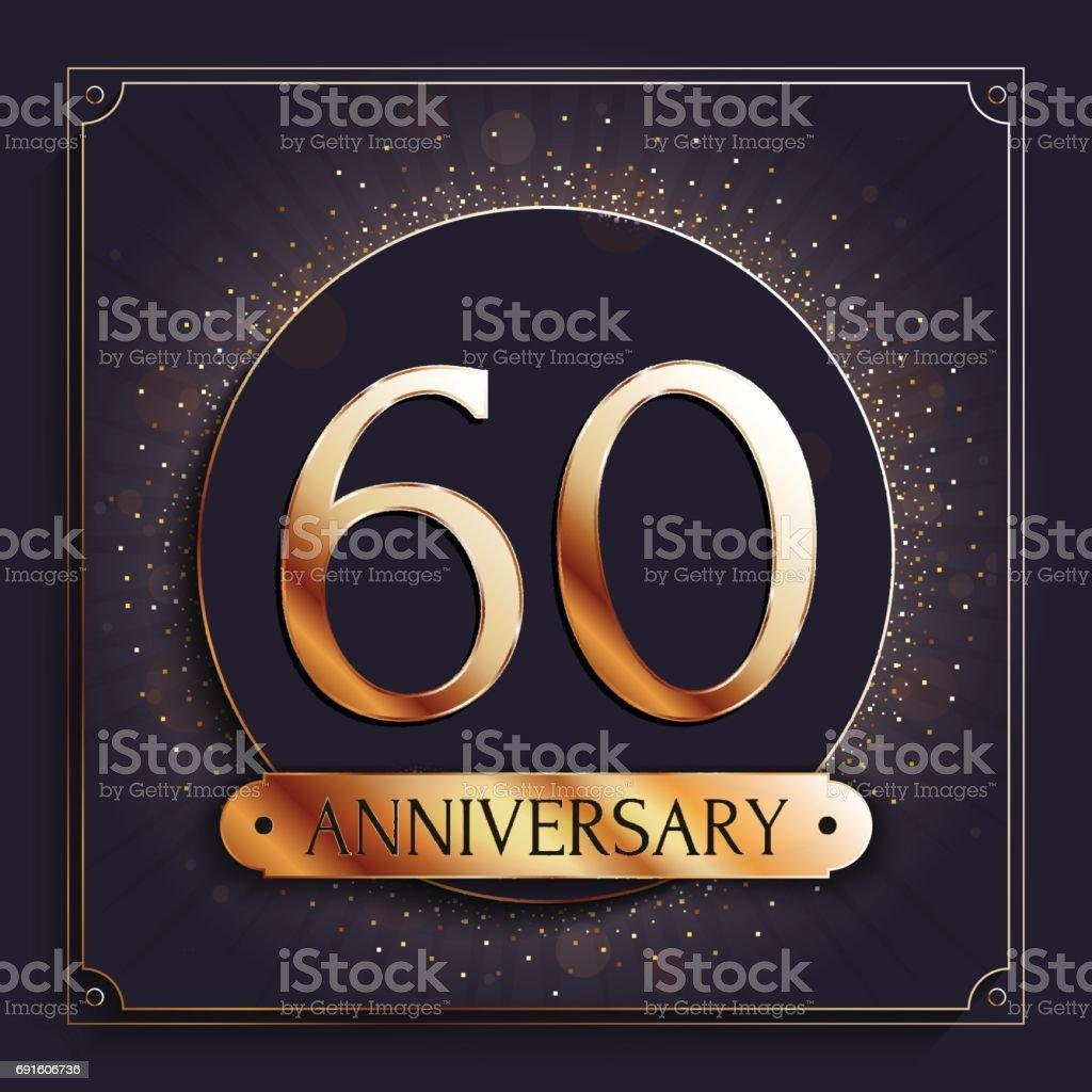 60 years anniversary banner. 60th anniversary gold icon on dark background. vector art illustration