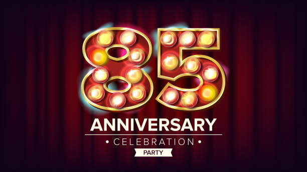 85 years anniversary banner vector. eighty-five, eighty-fifth celebration. shining light sign number. for business cards, postcards, flyers, gift cards design. modern red background illustration - oscars stock illustrations, clip art, cartoons, & icons