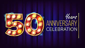 50 Years Anniversary Banner Vector. Fifty, Fiftieth Celebration. Lamp Background Digits. For Happy Birthday Luxurious Advertising Design. Retro Blue Background Illustration