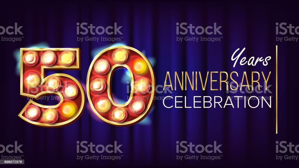 50 Years Anniversary Banner Vector. Fifty, Fiftieth Celebration. Lamp Background Digits. For Happy Birthday Luxurious Advertising Design. Retro Blue Background Illustration vector art illustration