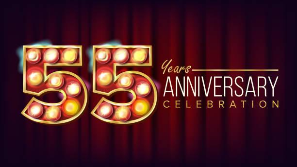 bildbanksillustrationer, clip art samt tecknat material och ikoner med 55 år årsdagen banner vektor. femtio-fem, femtio-femte firande. lysande ljus skylt nummer. för party, banner, badge design. klassisk röd bakgrund illustration - 55 59 år