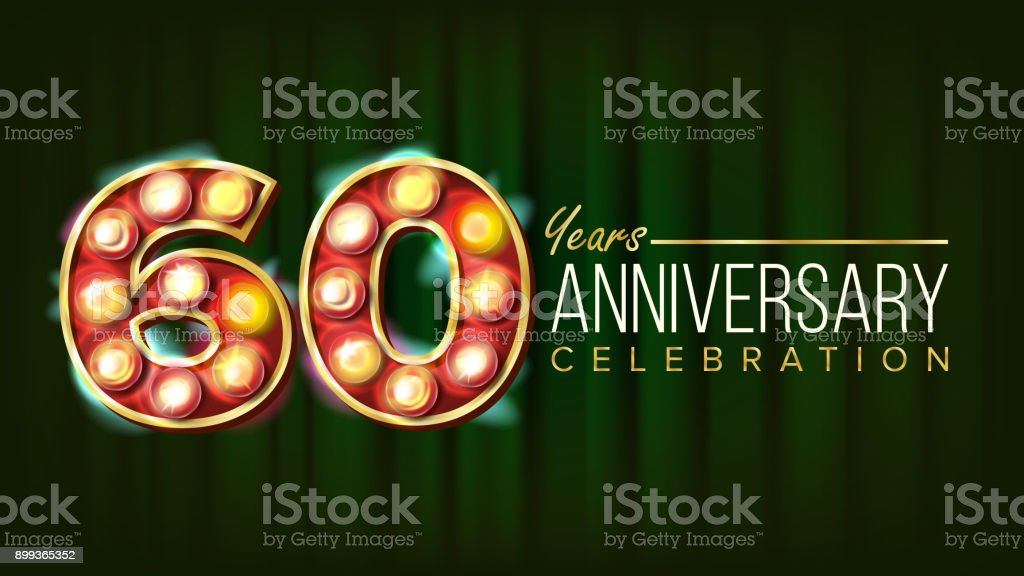 60 Years Anniversary Banner Vector. Sixty, Sixtieth Celebration. 3D Glowing Element Digits. For Flyer, Card, Wedding, Advertising Design. Classic Green Background Illustration - illustrazione arte vettoriale