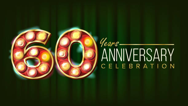 60 Years Anniversary Banner Vector. Sixty, Sixtieth Celebration. 3D Glowing Element Digits. For Flyer, Card, Wedding, Advertising Design. Classic Green Background Illustration vector art illustration