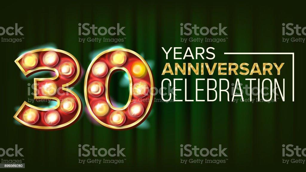 Ilustración De Vector De Banner De Aniversario De 30 Años