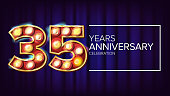 35 Years Anniversary Banner Vector. Thirty-five, Thirty-fifth Celebration. Vintage Golden Illuminated Neon Light Number. For Birthday Poster Template Design. Modern Background Illustration