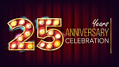 25 Years Anniversary Banner Vector. Twenty-five, Twenty-fifth Celebration. Shining Light Sign Number. For Traditional Company Birthday Design. Modern Red Background Illustration