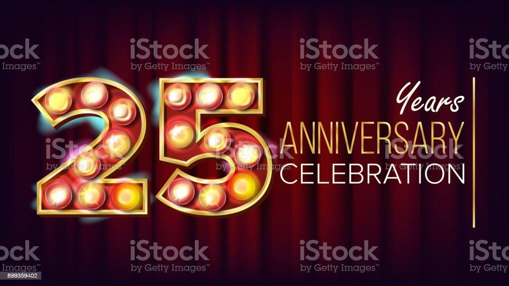 25 Jahre Jubiläum Banner Vektor. Fünfundzwanzig, Twenty-Fifth feiern. Strahlende Leuchtreklame Anzahl. Für das Traditionsunternehmen Geburtstag Design. Modernen roten Hintergrund Illustration – Vektorgrafik